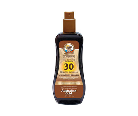 Australian Gold SPF 30 Spray Gel Zonnebrand met Bronzer